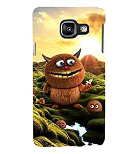 ANIMATED BROWN MONSTER WITH THE LITTLE ONES 3D Hard Polycarbonate Designer Back Case Cover for Samsung Galaxy A3 (2016) :: Samsung Galaxy A3 A310F (2016) A310M A310FD A310Y