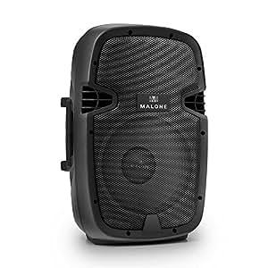 Malone PW-2110 PA-Box DJ Karaoke Aktiv Lautsprecherbox (25cm Lautsprecher, 200W RMS, XLR- und Klinke-Mikrofon-Eingang, Stativ-Flansch) schwarz