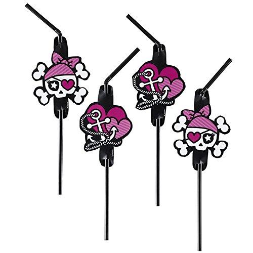 Pink Pirate Party Trinkhalme / Strohhalme Kindergeburtstag Picture