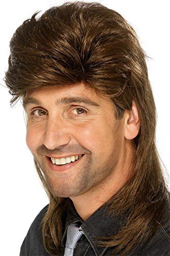Smiffy's 1980s Mullet Wig - Brown