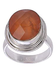 925SilverCollection Silver Plated Carnellian Stone Designer Ring Size 8.0 - B00Q2SWPNO
