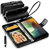 N+ INDIA Rich Leather Stand Wallet Flip Case Cover Book Pouch / Quality Slip Pouch / Soft Phone Bag (Specially Manufactured - Premium Quality) Antique Leather Case Black Mini For VIVO V5 / VIVO V5s