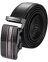 KS Men's Genuine Black Leather Belt with Automatic Ratchet Rose Gold Steel Buckle KB065