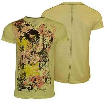 Mens Saint & Sinner MC 23592 Graphic Style Short Sleeve Glitter T-Shirt, Yellow, Small