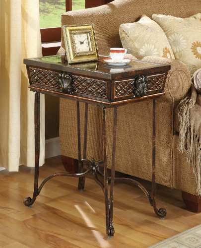 Cheap Antique End Table In Brown Finish (B003XRA6SS)