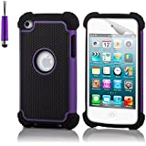 32nd® Shock Proof case cover for Apple iPod Touch 4 (4th generation) + screen protector, cleaning cloth and stylus pen - Purple