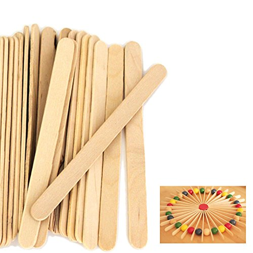 "100 pcs Natural Wood Popsicle Sticks Wooden Craft Sticks Wax 4-1/2"" x 3/8"" New"
