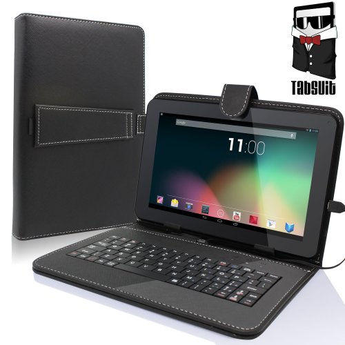 "TabSuit 9"" Tablet Folio Keyboard with Stand Universal PU Leather case for Dragon Touch 9"" A13 / MID948B, AKASO KingPad A90 Tablet and more 9"" Tablets"