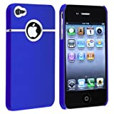 Snap-on Case compatible with Apple iPhone 4 / 4S, Dark Blue with Chrome Hole Rear
