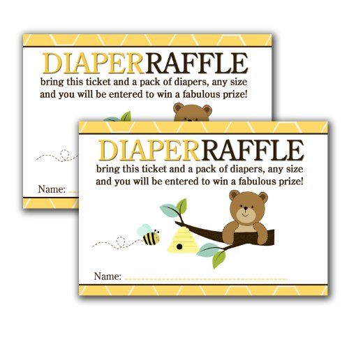 Brown Bear And Honey Bee Printed Baby Shower Diaper Raffle Tickets (20) front-824651