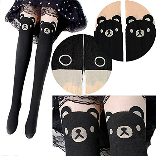 Sanwood® Cute Teddy Print Thigh-High Socks Bear Tail Pantyhose Tattoo Tights