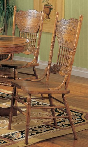 Coaster Dining Chairs with Double Press Back Oak Finish, Set of 2