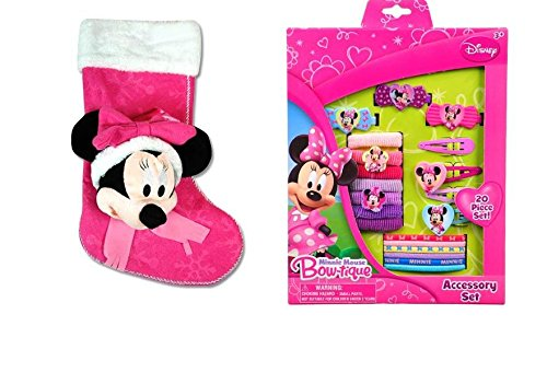 "Disney Minnie Mouse 18"" 3D Stocking with 20pc. Hair Accessory Gift Set- - 1"
