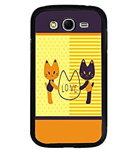 Fuson Premium Kitty Love Metal Printed with Hard Plastic Back Case Cover for Samsung Galaxy Grand Neo Plus GTi9060i