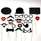 Photo Booth Props and Chalk Board Speech Bubbles - Mustache On A Stick Fun Wedding Birthday Party Favors 16 Piece Set -Includes Lips , Colored Glasses , Pirate Eye Patch, Bow Tie and Pipe