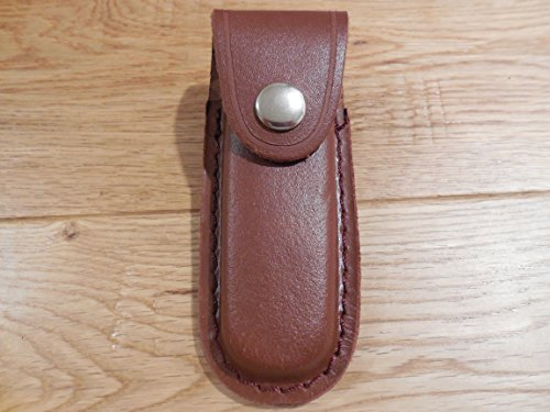 "Handmade Leather Knife Sheath. 4 1/4"" Brown. Fits Buck Ranger 112 Knife"
