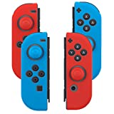 Joy Con Grips (2 Pair / 8pcs), Fosmon Anti-Slip Silicone Joy Con Gel Guards Skin Cover L/R with Thumb Stick Caps for Nintendo Switch Joy Con Controller (Blue/Red/Red/Blue)