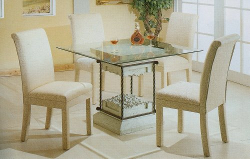 Cheap 5pc Faux Stone Glass Top Dining Table & White Parson Chairs Set (VF_dinset-7065-4465)