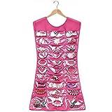 DDU(TM) 1Pcs Hot Pink- Women Dress Shape Hanging Jewellery Holder Organizer Box Storage Bag