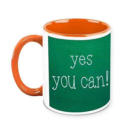 HomeSoGood Yes You Can Office Quote White Ceramic Coffee Mug - 325 Ml