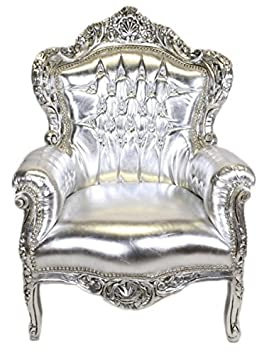 Casa Padrino Baroque Armchair 'King' silver / silver leather look with bling bling diamante