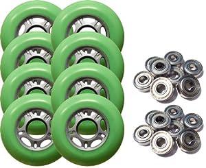 8 ASPHALT OUTDOOR Rollerblade Skate Wheels 76mm GREEN + ABEC 9 Bearings by Pro Stock