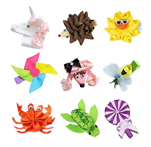Hipgirl Ribbon Sculpture Hair Bow Clips, Barrattes (9Pc Hip Girl Clips--Poodle & Unicorn) front-916916