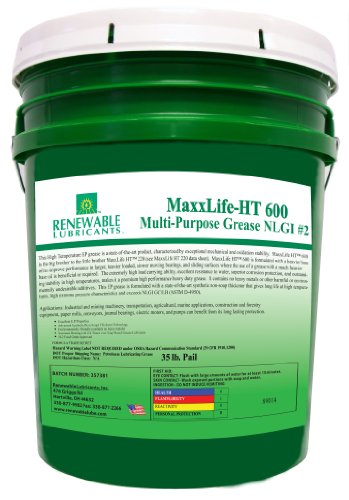 Renewable Lubricants Maxxlife Ht 600 High Temperature Nlgi 2 Multipurpose Grease, 35 Lbs Pail