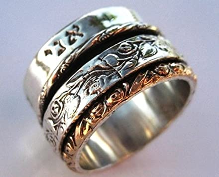 Mens Spinner Wedding Band 44 Great Hebrew Meditation Ring Spinner