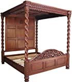 "4'6"" Double Solid Panel Heavy Four Poster Bed Waxed Mahogany Barley Twist Posts"