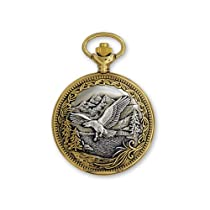 JD Manoir Two-tone White Dial Quartz Eagle Pocket Watch