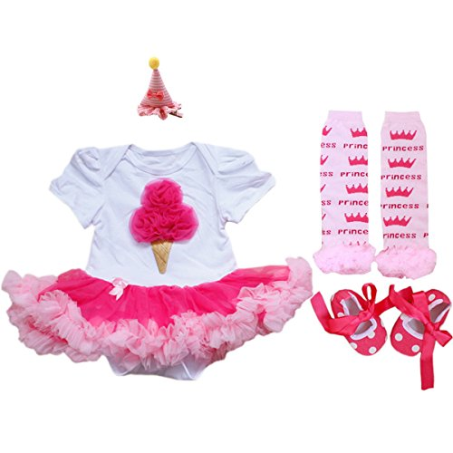 AOZKY® Baby Girls' Birthday Ice Cream Printed Tutu Dress 4PCS