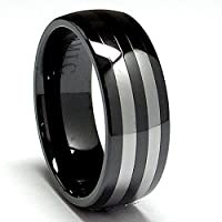 8MM Dome Ceramic Ring with Tungsten Carbide Inlay sizes 8 to 12