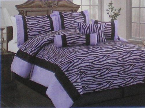 Twin Soft Short Fur Black / Purple Zebra Printing Comforter Set Bedding-In-A-Bag