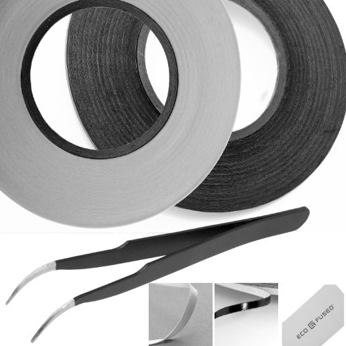 Adhesive Sticker Tape For Use In Cell Phone Repair - 2 Rolls Of 2Mm Tape - Also Including 1 Pair Of Tweezers / Eco-Fused Microfiber Cleaning Cloth (Black And White) front-257024