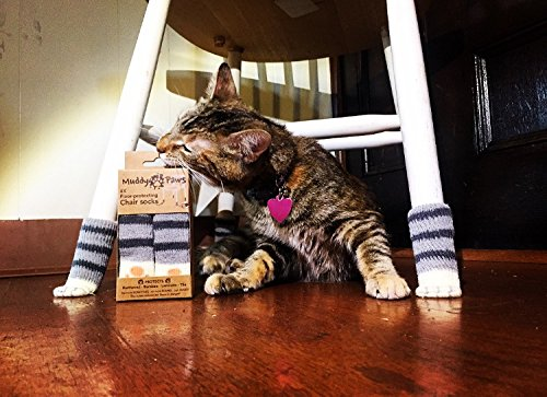 Chair Socks With Cute Cat Paw Design Protect Hardwood