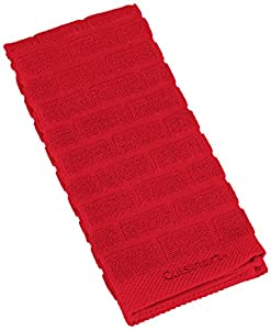 Cuisinart 100% Cotton Terry Super Absorbent Kitchen Towel, Sculpted Subway Tile, Red