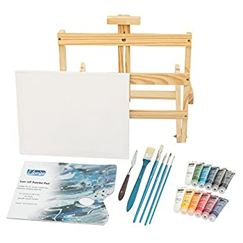 L.Louise Art Acrylic Paint Set with Easel, 5 Brushes, Palette Knife, 11
