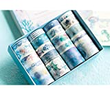 Washi Tape Blue Pattern Set of 20 Japanese Decorative Masking Tape for Scrapbook, Planner, Arts & Crafts, Gift Wrapping, Office Party Supplies (Blue Ocean) (Color: Ocean)