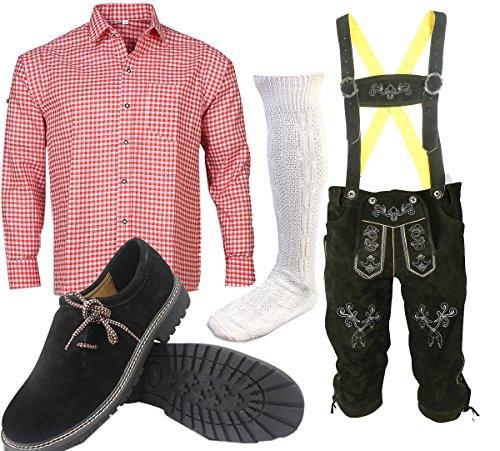 S1 Trachtenset (Hose +Hemd +Schuhe +Socken ) Bayerische Lederhose Trachtenhose Oktoberfest Leder Hose Trachten thumbnail