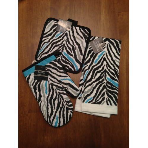 Aqua blue gray and black zebra print kitchen for Zebra kitchen set