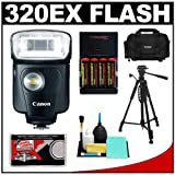 Canon Speedlite 320EX Flash with LED Light with 2400 Case + Tripod + (4) Batteries & Charger + Cleaning Kit for EOS 7D, 5D, 60D, 50D, Rebel T3, T3i, T2i, T1i, XS Digital SLR Cameras