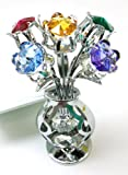 CRYSTOCRAFT Freestanding Swarovski Crystal Tulips in Crystal Vase