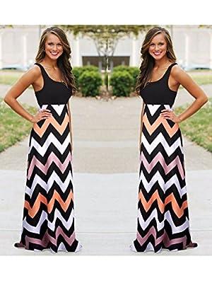 Anna-Kaci Sexy Summer Long Maxi BOHO Women Evening Party Dress Beach Striped Sundress