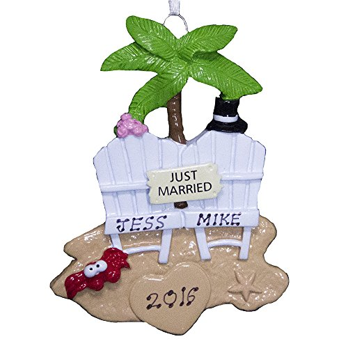 Personalized Wedding Couple on Beach Ornament-Free Personalization