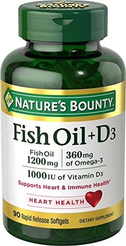 Nature's Bounty Fish Oil 1200 mg + Vitamin D3 1000 IU, 90 Softgels (Packaging May Vary)