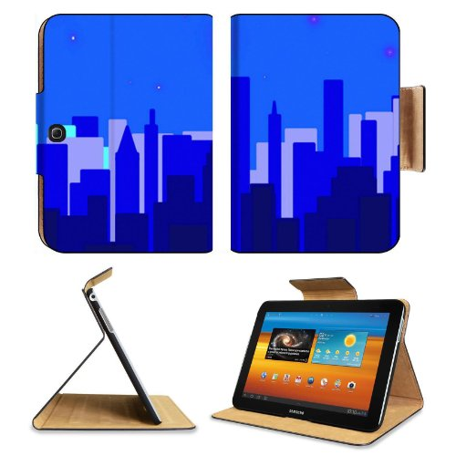 New York City Cityscape Night Time Samsung Galaxy Tab 3 10.1 Flip Case Stand Magnetic Cover Open Ports Customized Made To Order Support Ready Premium Deluxe Pu Leather 9 7/8 Inch (250Mm) X 7 1/4 Inch (183Mm) X 11/16 Inch (17Mm) Msd Galaxy Tab3 Cases Tab_1 front-346304