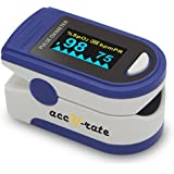 Acc U Rate CMS 500D Generation 2 Fingertip Pulse Oximeter Oximetry Blood Oxygen Saturation Monitor with silicon cover, batteries and lanyard