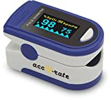 Acc U Rate Pro Series CMS 500D Deluxe Fingertip Pulse Oximeter Blood Oxygen Saturation Monitor with silicon cover, batteries and lanyard (Sapphire Blue)