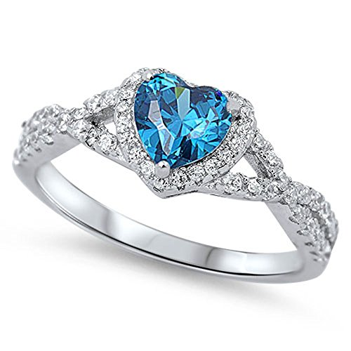 Heart Blue Simulated Topaz Halo Infinity Promise Ring .925 Sterling Silver Size 7 (RNG15777-7)